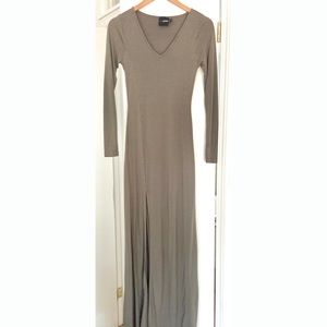 ASOS Petite Long Sleeved Olive Maxi Dress w Slit